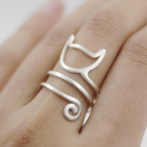 Cute Style Cat Shaped Open Ring
