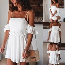 Sexy Off-shoulder Short Sleeve High Waist Solid Color Sling Dress