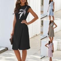 Elegant Solid Color Sleeveless Round Neck Sequin Spliced Slim Fit Dress