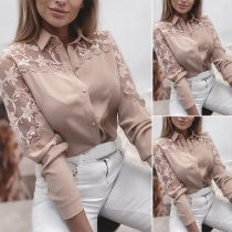 OL Style Short Sleeve POLO Collar Lace Spliced Shirt