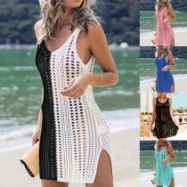 Sexy Sleeveless V-neck Slit Hem Hollow Out Bikini Smock Dress