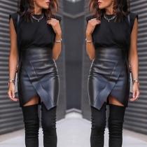 Fashion High Waist Solid Color Irregular Slit Hem PU Leather Skirt