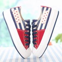 Contraste Couleur étoile décontractée à rayures Low Top Sneaker Plate-forme
