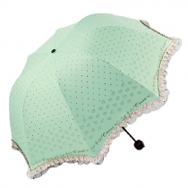 Couleur de sucrerie Sweet Girl dentelle à pois parapluie pliant