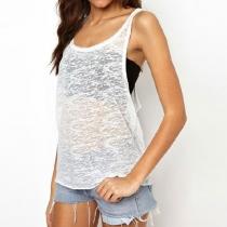 Gilet T-Shirt de Coureurs Sexy Décontracté Sportif Semi-Transparant