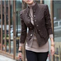 Veste élégante Mince Moulante Cool à la Mode Classique en Couleur Pure au Col Debout à Double Boutonnage