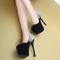 Chaussures à Talons Aiguilles Elégantes Sublimes à la Mode en Couleur Contrastée au Bout Rond