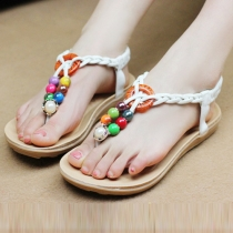 Bohemian Style Colorful Beads Flat Heel Thong Sandals