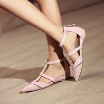 Fashion Pointed Toe Flat Heel Hollow Out Shoes