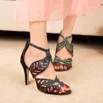 Sexy Sparkly Rhinestone Peep Toe High Heeled Sandals
