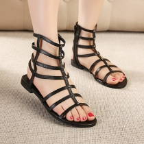 Roman Style Hollow Out Peep Toe Flat Heel Sandals