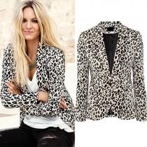 Fashion Long Sleeve Slim Fit Leopard Printed Blazer