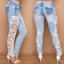 Sexy Hollow Out Lace Spliced Low-waist Skinny Jeans