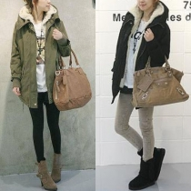 Fashion Solid Color Long Sleeve High-low Hem Hooded Padded Coat