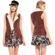 Fashion Solid Color Lapel Slim Fit Faux Suede Vest