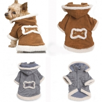 Cute Style Contrast Color Hooded Padded Coat For Dogs