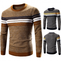 Fashion Contrast Color Striped Long Sleeve Knit Men's Sweater