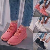 Fashion Solid Color Flat Heel Round Toe Lace-up High-top Canvas Shoes