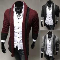 Cardigan Stylé à la Mode en Couleur Contrastée à Manches Longues Pour les Hommes