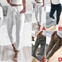 Pantalon Décontracté à la Mode à la Taille Haute à Rayures