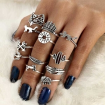 Retro Style Silver-tone Alloy Ring Set 16 pcs/Set
