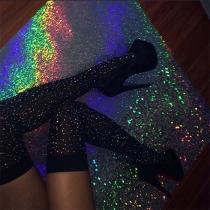 Fashion Rhinestone Inlaid Over-the-knee Stockings