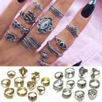 Retro Style Gold/Silver Alloy Ring Set 11 pcs/Set