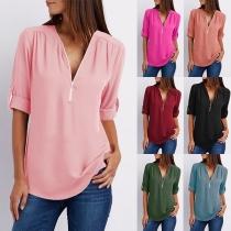 Tee-Shirt Doux à la Mode Encolure V à Manches Longues en Mousseline de Soie