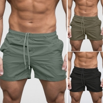 Fashion Solid Color Elastic Waist Men's Beach Shorts