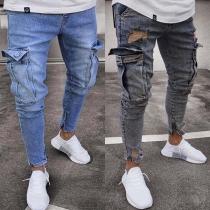 Jeans Stylé à la Mode Avec les Poches à Côté Pour les Hommes