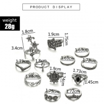 Retro Style Silver-tone Alloy Ring Set 12 pcs/Set