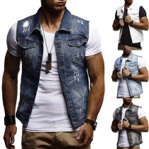 Fashion Lapel Sleeveless Pockets Single-breasted Ripped Waistcoat
