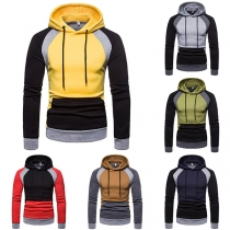 Fashion Contrast Color Long Sleeve Men's Hoodie