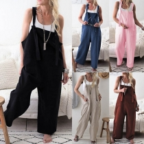 Fashion Solid Color Front-pockets Loose Overalls