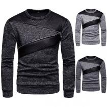 Fashion Contrast Color Long Sleeve Round Neck Men's Sweatshirt