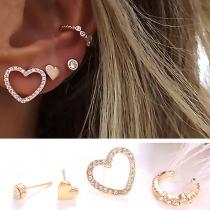 Boucles d'Oreillles/Bijoux / Accessoires Pour Femmes Chic 4-Pièces à la Mode Bling-Bling Style avec des Cristaux