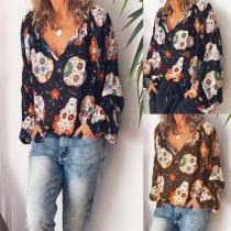 Fashion Long Sleeve V-neck Loose Printed Blouse