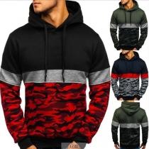 Pull Stylé à la Mode en Couleur Contrastée à Imprimés de Camouflage Pour les Hommes