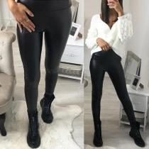 Pantalon Noir Moulant Stylé à la Mode à la Taille Haute en Faux Cuir