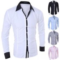 Chemise Stylée à la Mode en Couleur Contrastée au Col POLO à Manches Longues