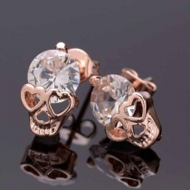 Fashion Rhinestone Inlaid Skull Head Shaped Stud Earrings