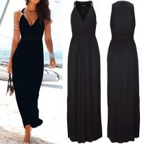 Maxi-Robe Noire Sexy à Bretelles Encolure V Dos Nu à la Taille Haute