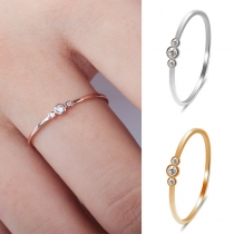 Simple Style Rhinestone Inlaid Alloy Ring