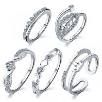Fashion Rhinestone Inlaid Ring Set 5 pcs/Set