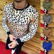 Fashion Leopard Printed Long Sleeve Round Neck Men's T-shirt