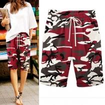 Fashion Camouflage Printed Knee-length Shorts