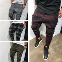 Fashion Middle-waist Plaid Pants for Men