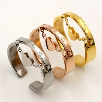 Fashion Heart Inlaid Opening Ring