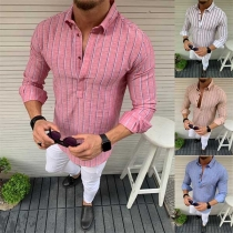 Fashion Long Sleeve POLO Collar Men's Striped Shirt