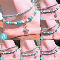 Bohemian Style Starfish Turtle Pendant Beaded Anklet